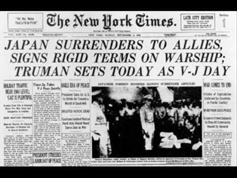 Japan surrenders Truman sets today as V-J Day