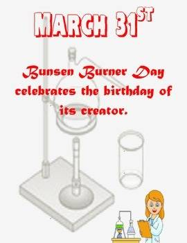 March 31st Bunsen Burner Day celebrates the birthday of its creator