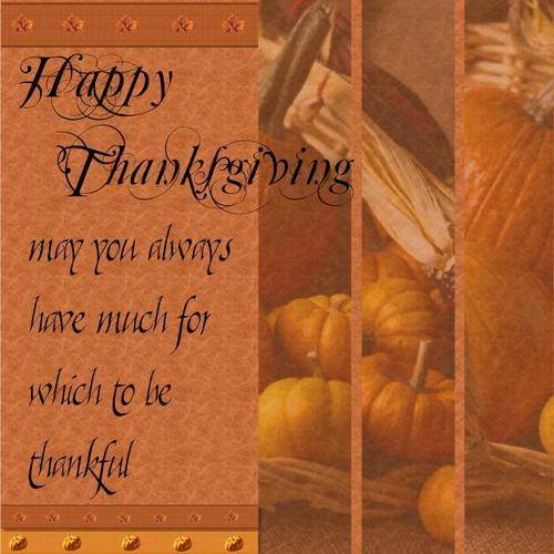 Happy Thanksgiving may you always have much for which to be thankful