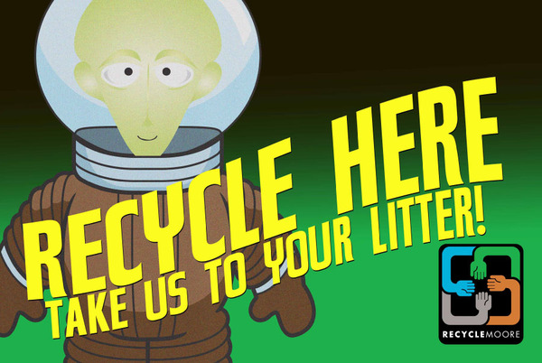 Recycle here take us to your litter