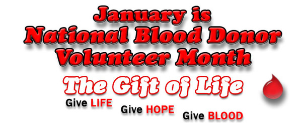 January is National Blood Donor Volunteer Month
