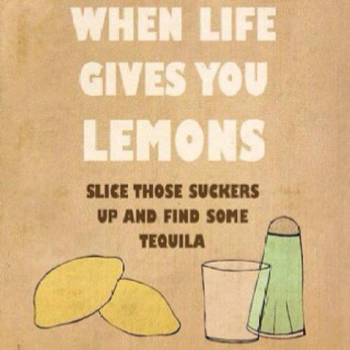 When life gives you lemons slice those suckers up and find some tequila